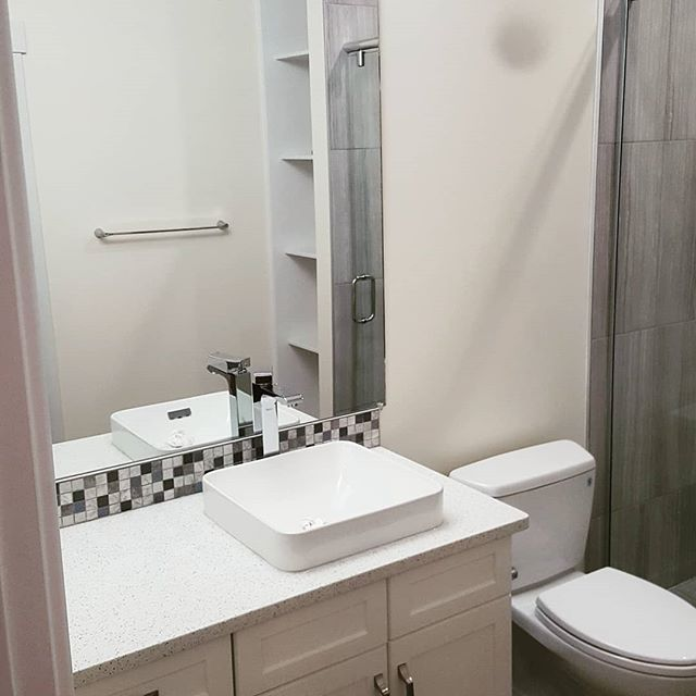 Bathroom we did as part of a basement development. Matching styles is always a challenge, but we came pretty darn close to getting this one bang on with the upstairs finishes.  #bathroomdesign #basement #evolutioncarpentry #yeg #yegbuilder #quality