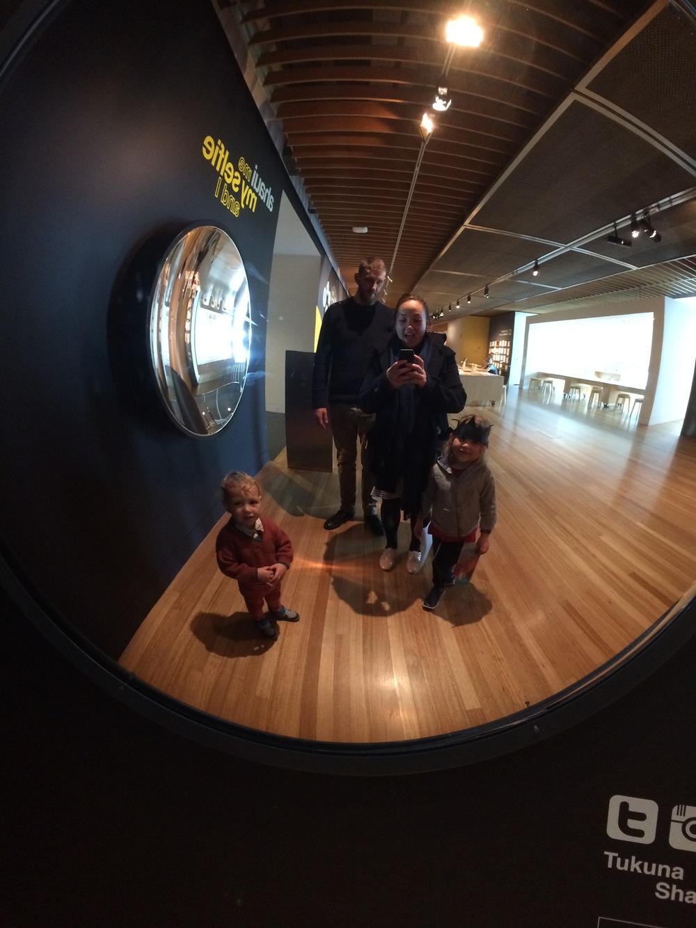 Whānau selfie at Te Papa