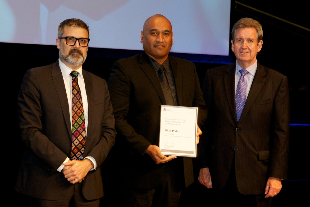 Receiving NSW Premieres Award for Best 2013 Cultural Program acrossNSW.  L to R: NSW Commissioner Graeme Head, Dion Peita, Premiere Barry O'Farrell.