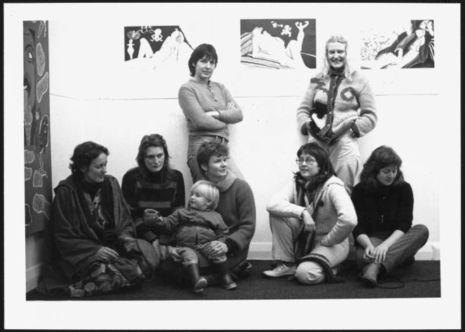 Group at the Women's Gallery, Wellington, New Zealand. Creative NZ :Photographs relating to the Queen Elizabeth II Arts Council and Creative NZ. Ref: PAColl-9090-14-61. Alexander Turnbull Library, Wellington, New Zealand.http://natlib.govt.nz/records/22912125