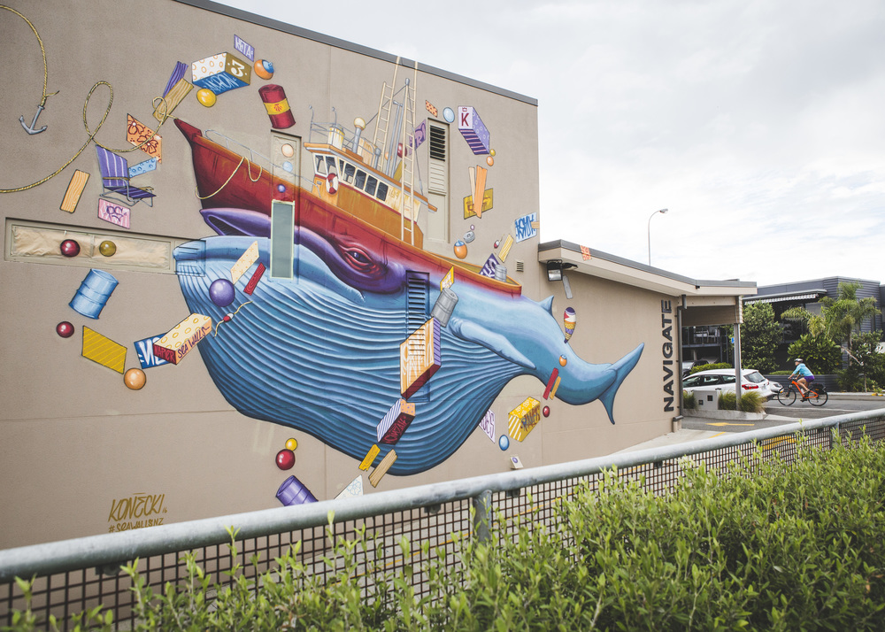 A 'Sea Wall: Murals for Oceans' work. Photo credit: Napier City Council