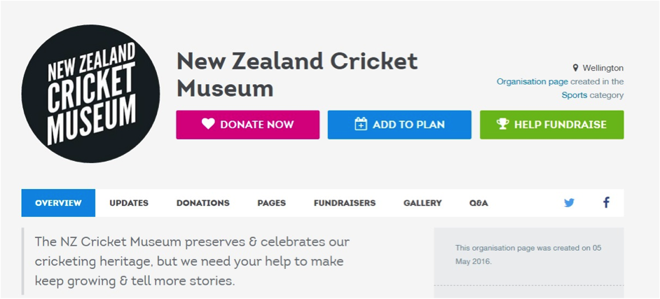 New Zealand Cricket Museum's 'organisation' model Give-A-Little Page