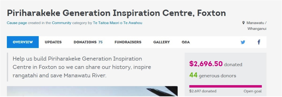 Piriharakeke Generation Inspiration Centre's 'cause' model Give-A-Little Page