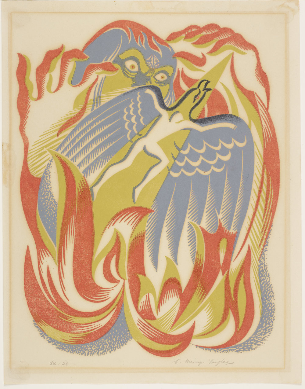 Maui and the fire goddess , 1952, Wellington, by E Mervyn Taylor. Purchased 2004. Te Papa (2004-0026-1)