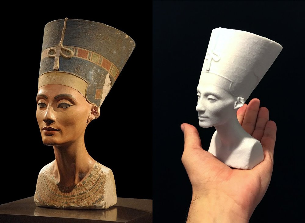 Left: Nefertiti, By Philip Pikart via Wikimedia Commons CC-BY SA .  Right: 'The Other Nefertiti' 3D printed model.