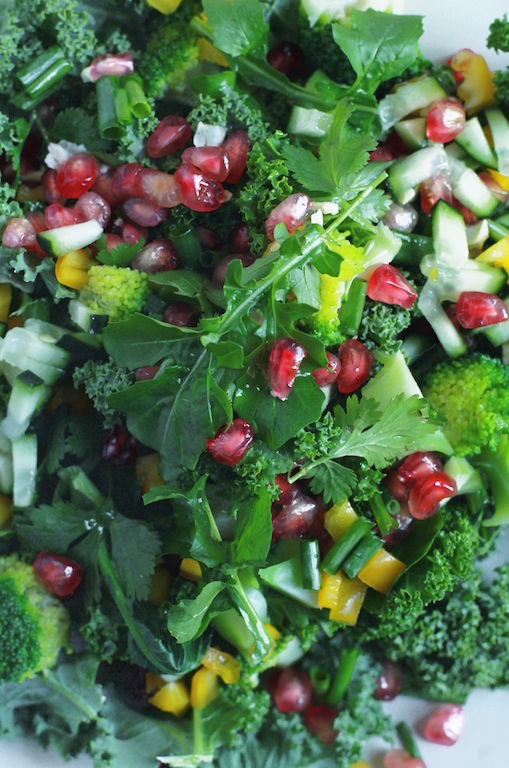 CRUNCHY BROCCOLI AND POMEGRANATE WINTER SALAD WITH SWEET MISO TAHINI DRESSING by Let It Be Cosy