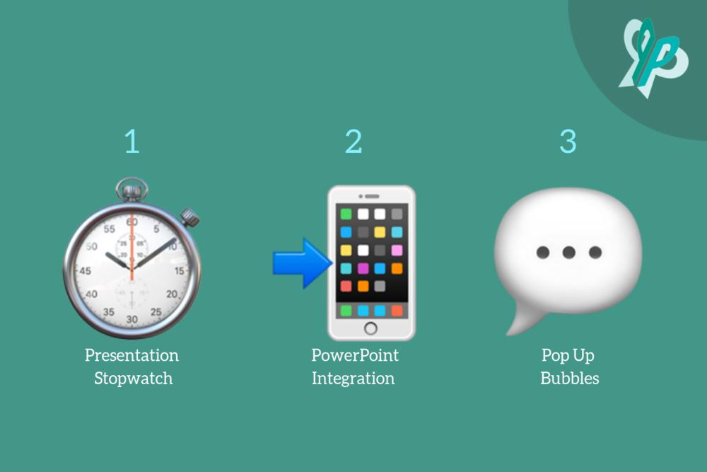 1. Stopwatch Emoji; Presentation Stopwatch  2. Phone with Arrow Emoji; PowerPoint Integration  3. Speech Emoji; Pop Up Bubbles