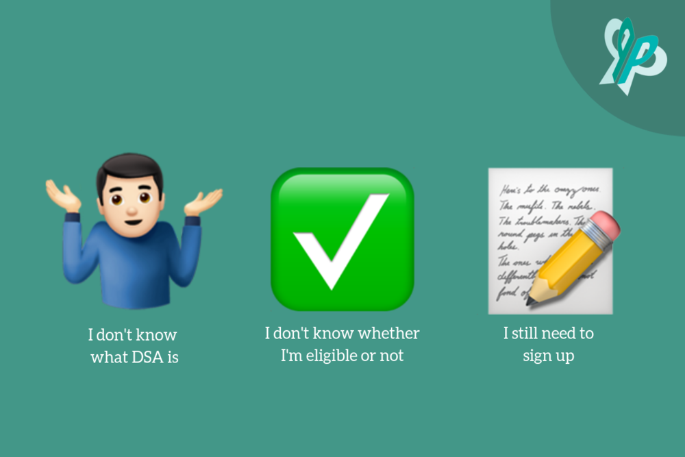1. Shrugging Emoji; I don't know what DSA is  2. Tick Emoji;  I don't know whether I'm eligible or not  3. Pencil and Paper Emoji; I still need to sign up