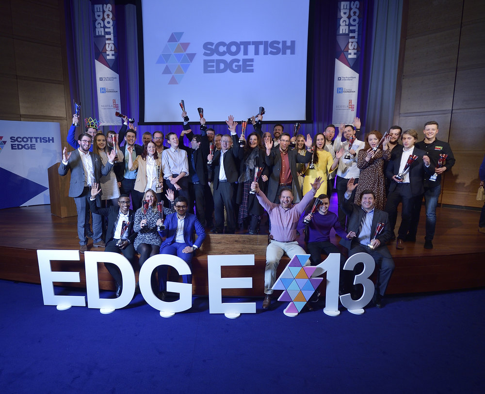 The Edge 13 Winners on stage at RBS Gogarburn
