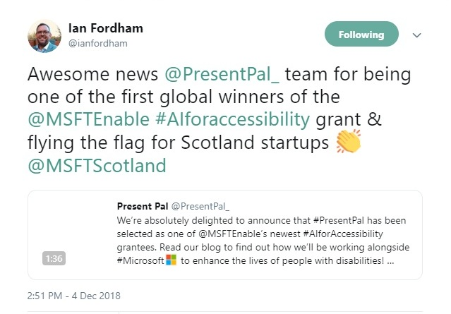 Ian Fordham Tweet