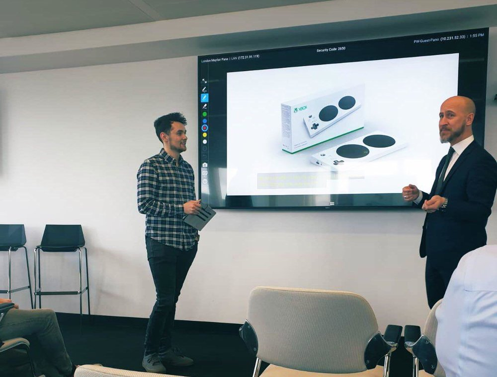 Chris speaking alongside Hector Minto at a Microsoft Partners event on Accessibility