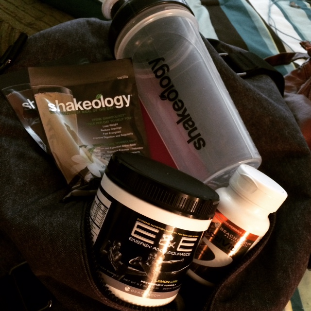 I HAD to bring my goodies along last Spring when I road tripped down to Kentucky to visit my good friend! That meant my Shakeology, Activit, and my new coffee-substitute E & E!