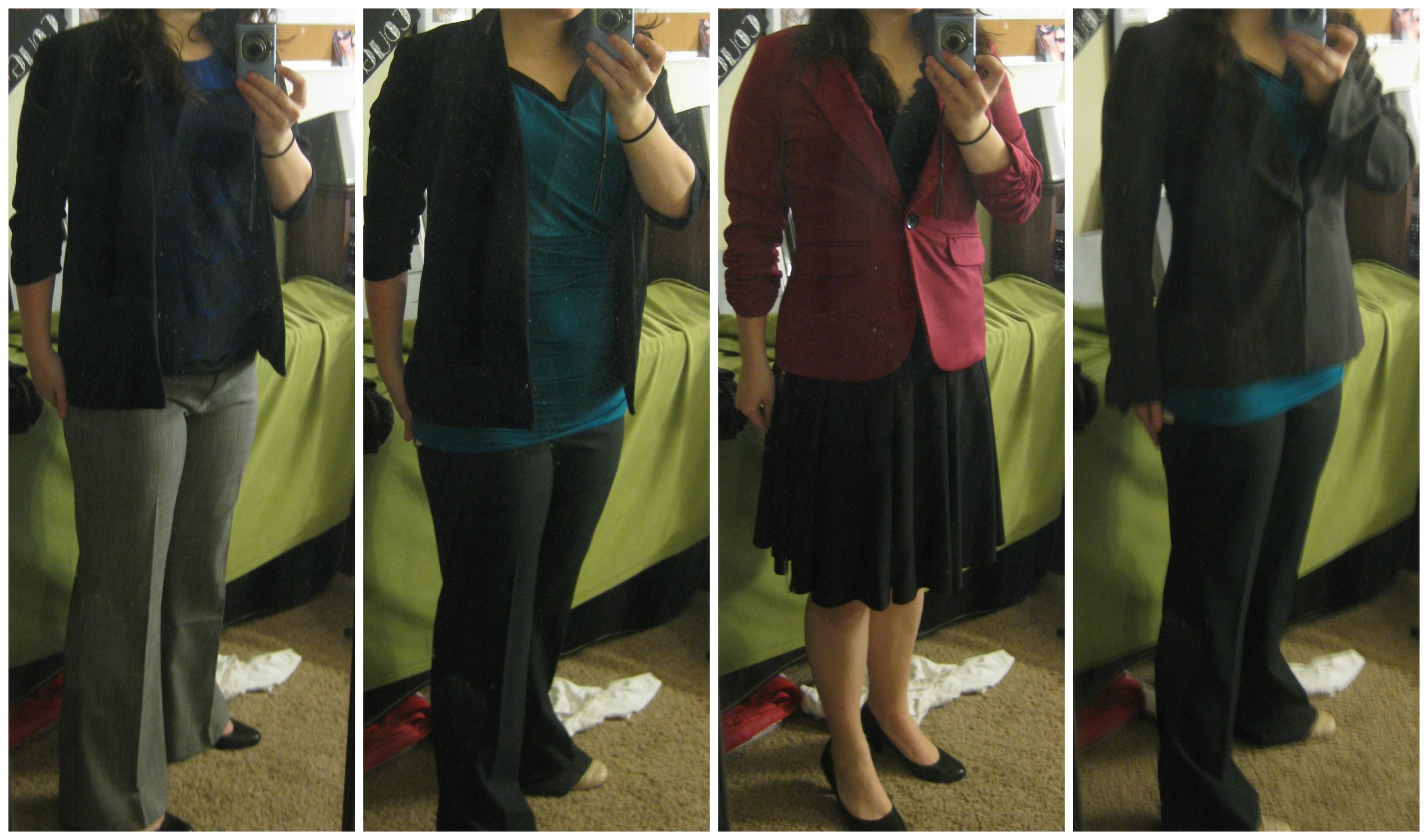 Just some interview outfit ideas! The grey slacks, black blazer, and cranberry colored blazer were some of my go-to pieces! I only really busted out the skirt when I was down South and felt I should be more lady-like!Apologies for the terrible quality! These were from a few years ago when I had a cell phone with a REALLY terrible camera.