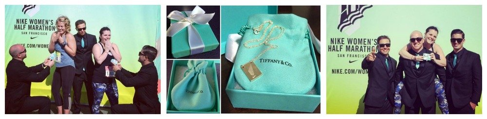 From left: Anna & I getting proposed to ;-); The Tiffany's box and finisher's necklace; 3 firemen and 1 Ellyn! :-D