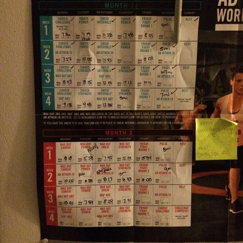 My Insanity Max 30 calendar - I may have missed some days on this calendar, but I've never missed two days in a row and that's a good way to help my healthy habits stick!