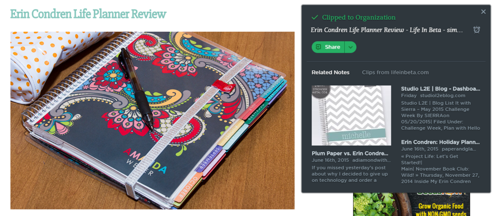I used this tool a lot as I was getting ideas for how I wanted to use my Erin Condren Life Planner! You can pick whether you want the whole article, whether you want to clip part of it, etc. The Clipper also let's you easily choose where you want file your clipper away!