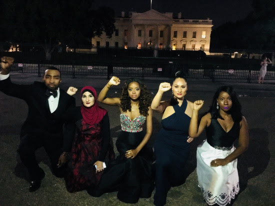 from l to right: Justice League NYC's Mysonne, Linda Sarsour, Tamika Mallory, Carmen Perez & Denisha Gingles #TakeAKnee in front of the White House.