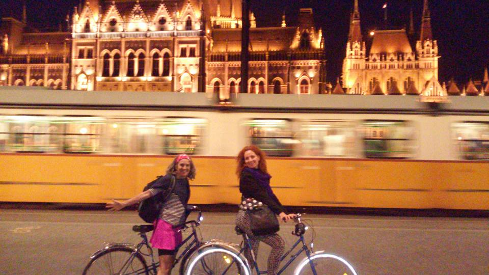 Helen and Kinga on Bikes