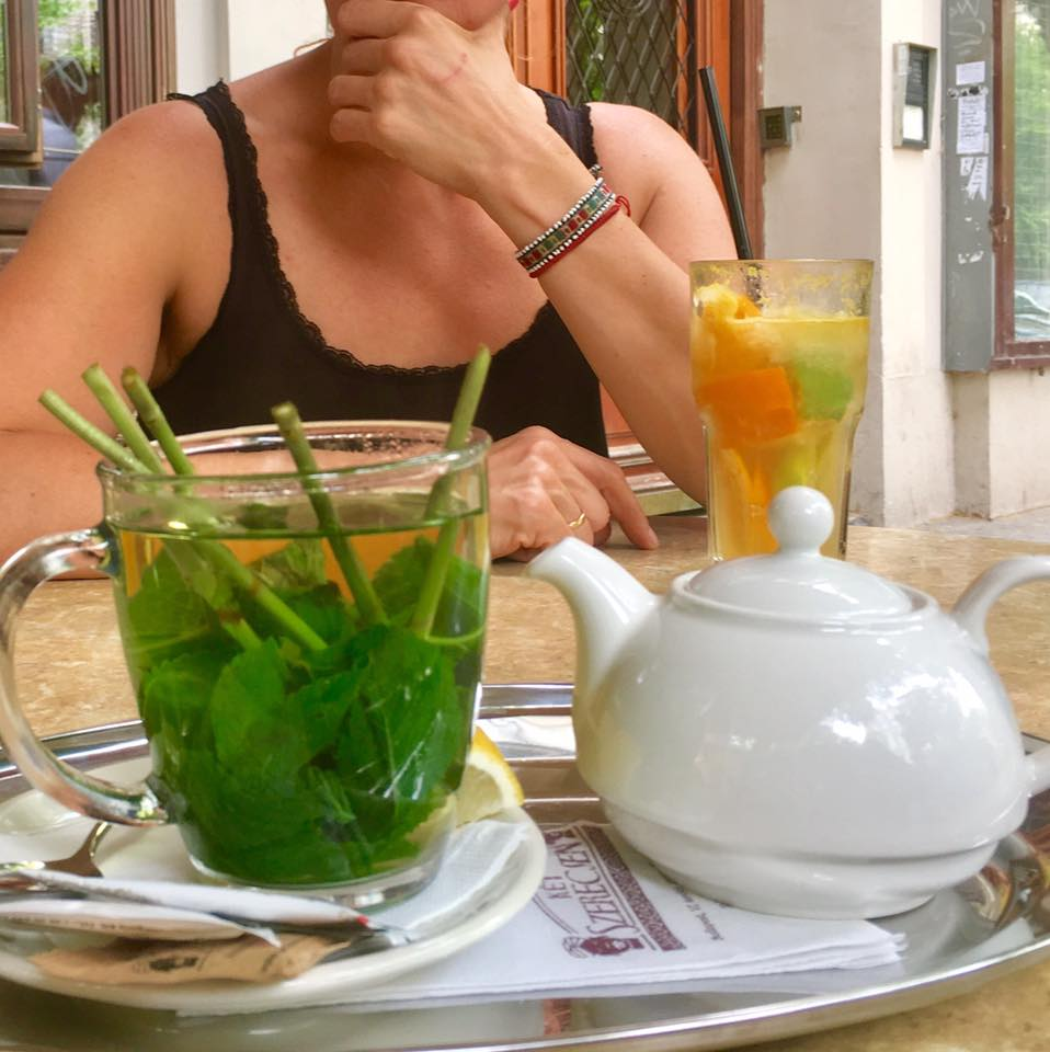 Fresh Mint tea every lunch time - YUM!