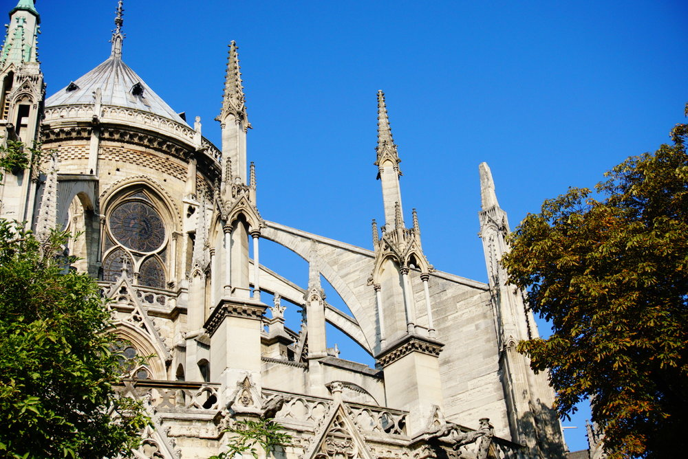 We snuck up on Notre Dame from behind with its ominous gargoyals and flying buttresses