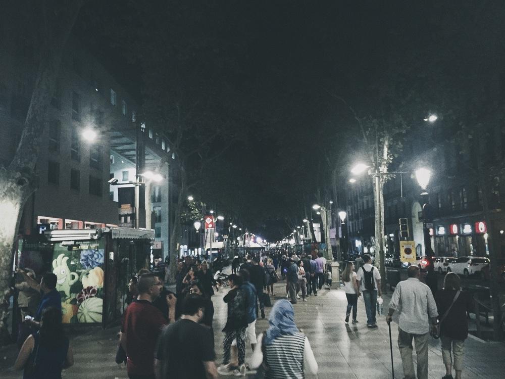 Las confluidas Rambles de Barcelona.