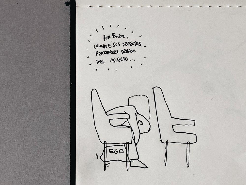 """""""Por favor, coloque sus  defectos personales  debajo del asiento"""""""
