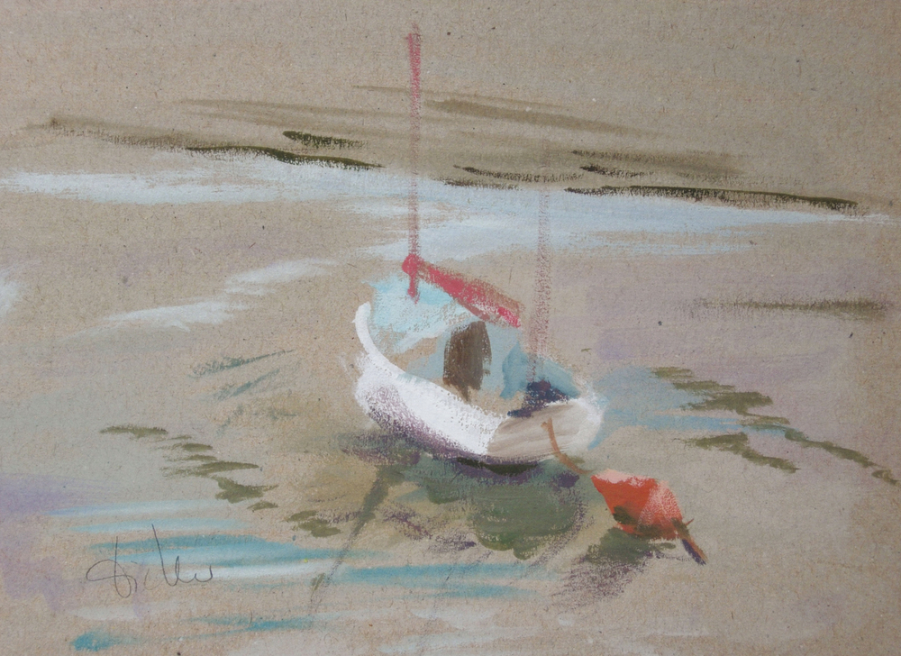 bateau à marée basse