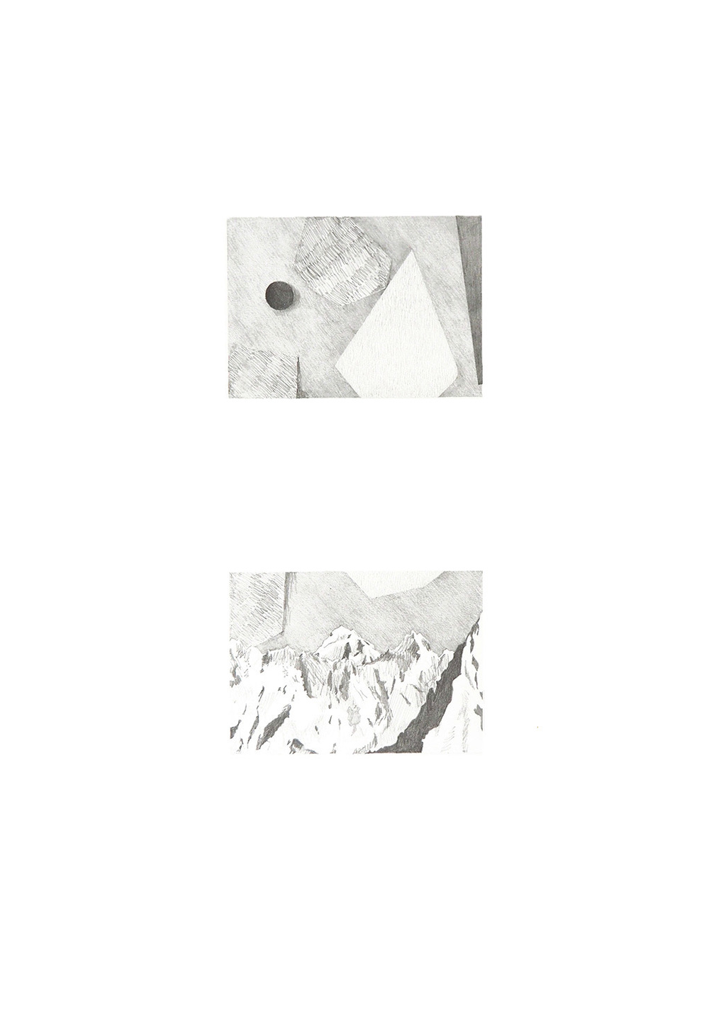 Mountains and abstractions 1, 2016, pencil and collage on  paper, 59 x 42 cm, Eli Maria Lundgaard.jpg