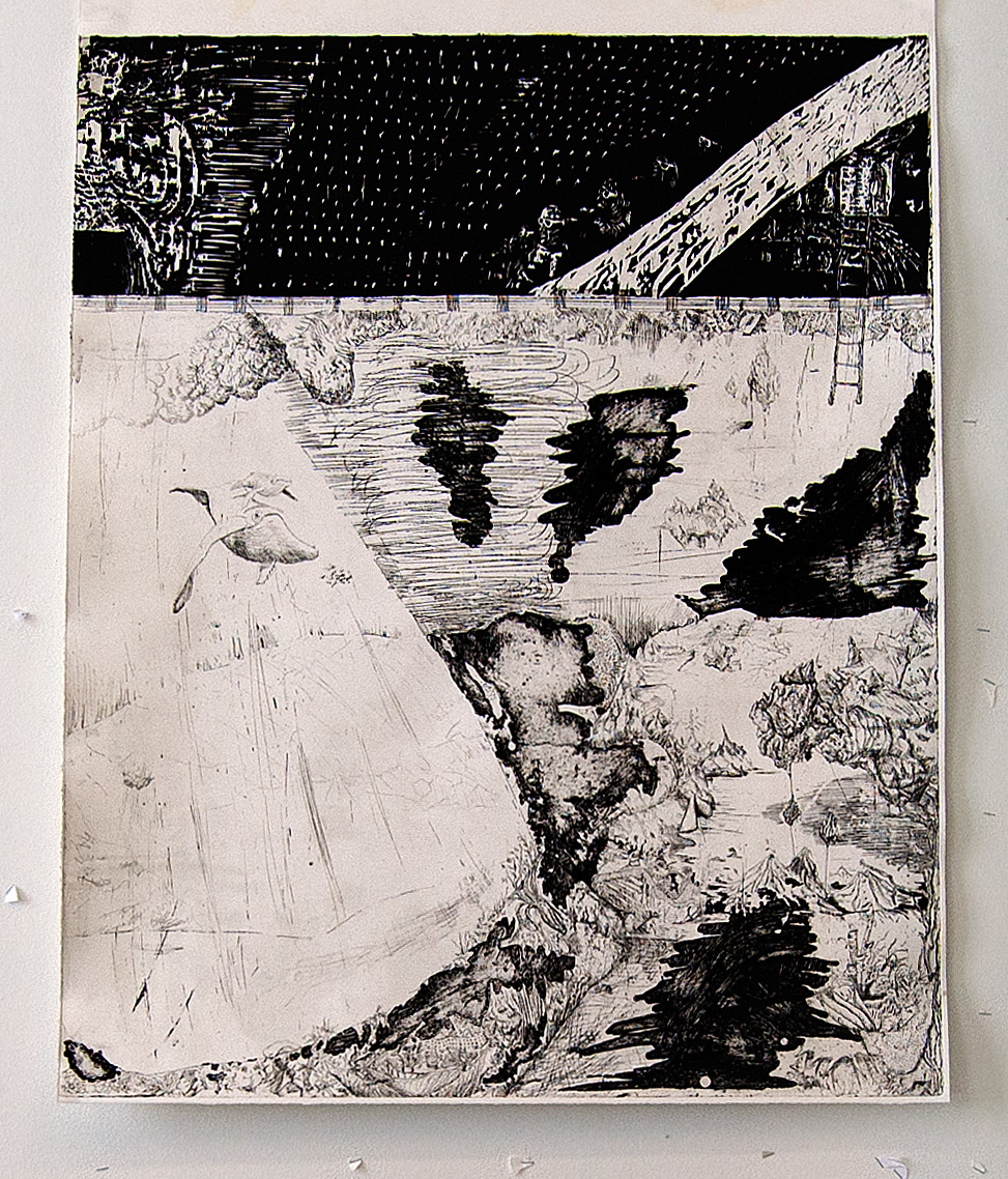 """Flukten [The Great Escape]"", 2013, Intaglio and woodcut print, 100 cm x 80 cm"