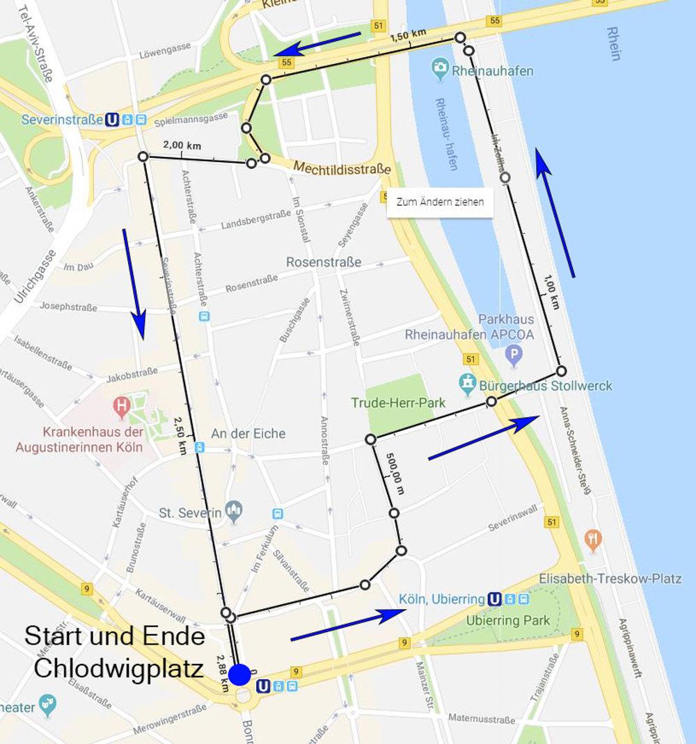 Strecke Photowalk im Severinsviertel
