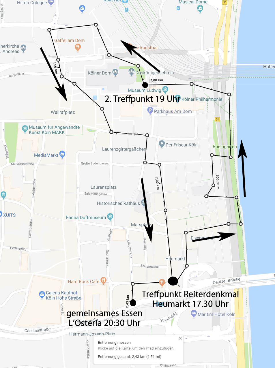 Strecke Photowalk Köln Altstadt 14. Walk