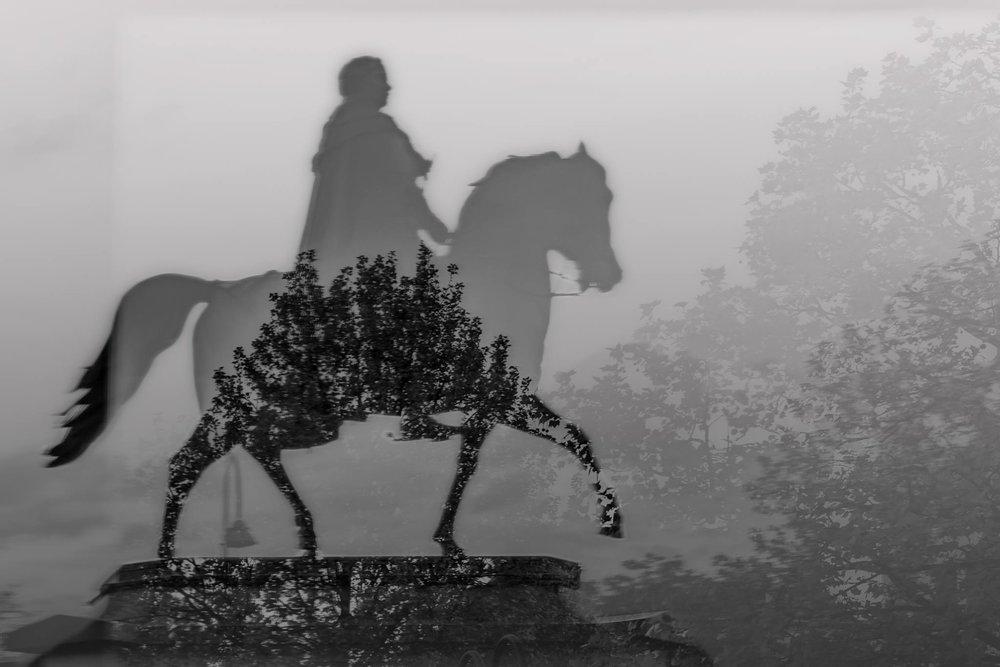 Reiterstatue Heumarkt Doppelbelichtung - wolfgang tietzen