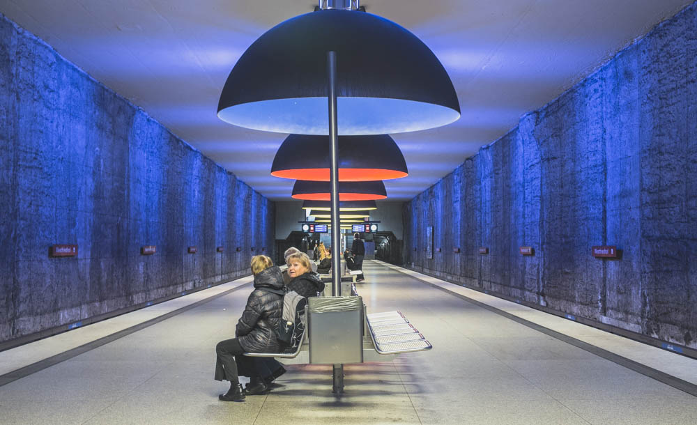 U-bahnhof Station  Westfriedhof:  Quirky and night club-like feeling, a bit Phillipe Stark-ish.