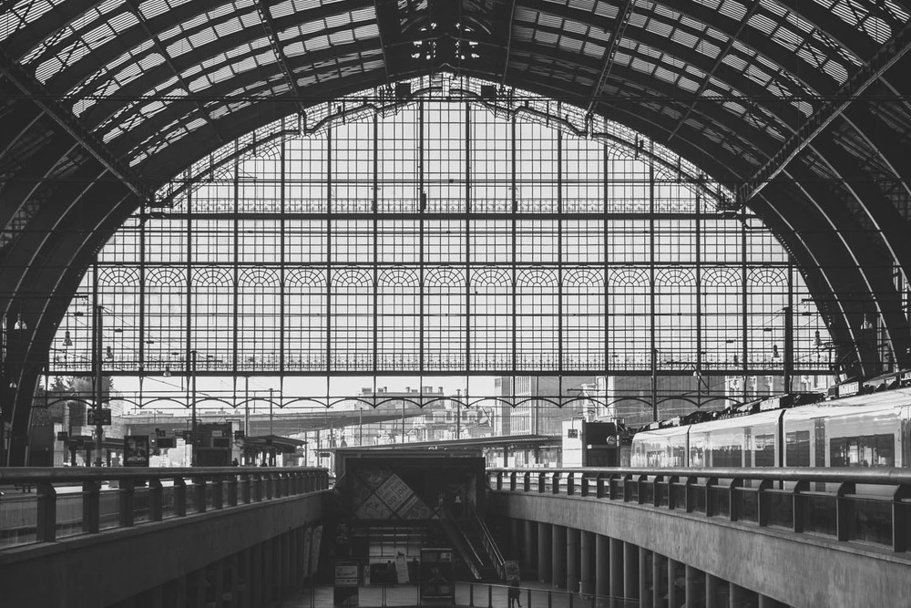 Antwerp central station expansion with iron and glass structure.