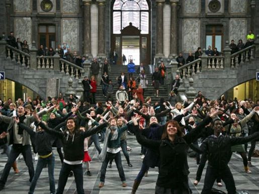 Flash mob scene at the station from Rodgers and Hammerstein musical