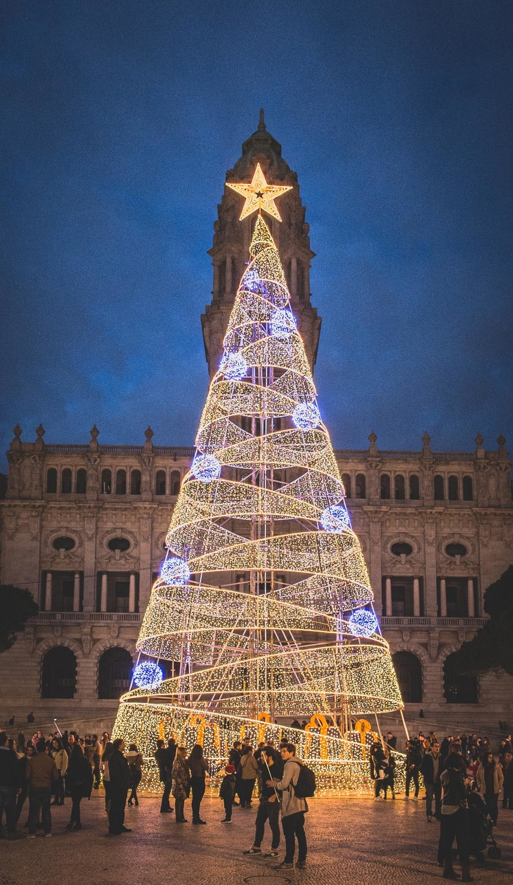 Huge christmas tree in front of the city hall of Porto.