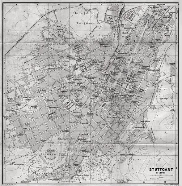 Old city map of Stuttgart. Concentric Development on the west side of Necklar River.