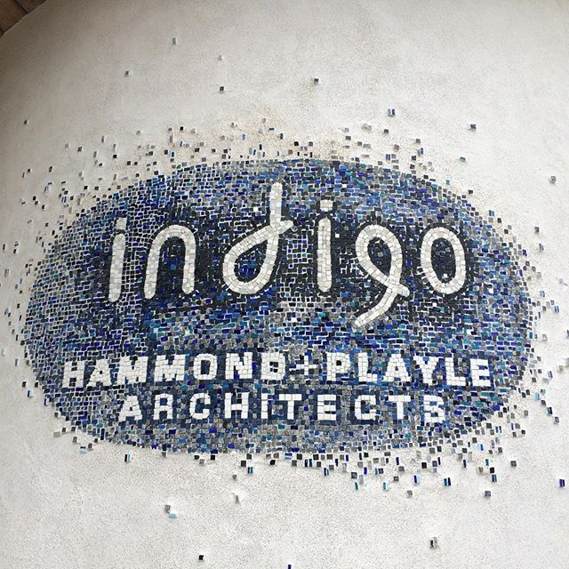 Mosaic logo for our new office, set in plaster on #strawbale wall. #mosaicart #indigoarchitects