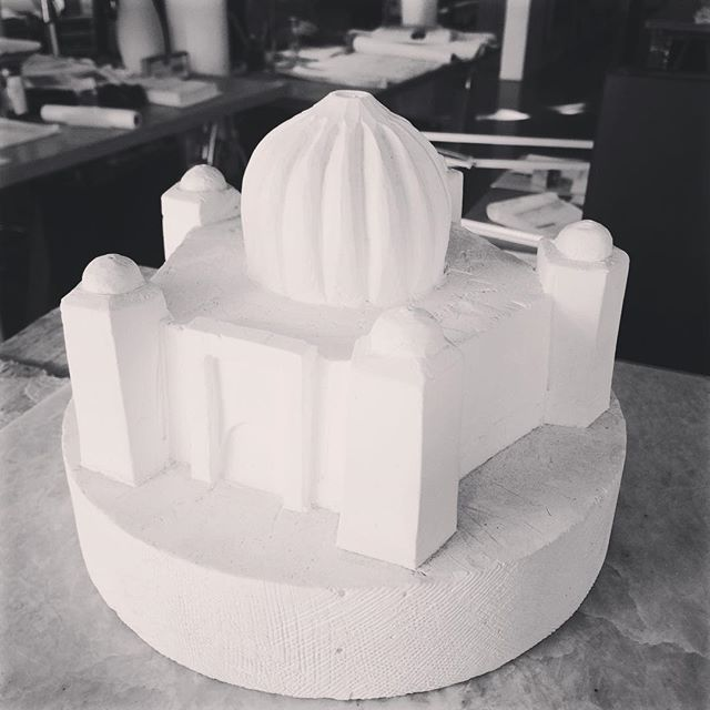 Plaster study model, Sikh Temple in Hayward. Sometimes architects still get to build real models #architects #plasterstudymodel #sikharchitecture #architecture #sikh