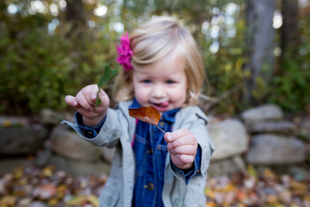 a little blonde girl playing with leaves