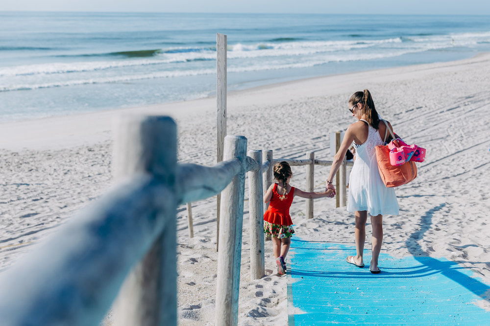Mother and daughter holding hands | NJ Beach Photographer