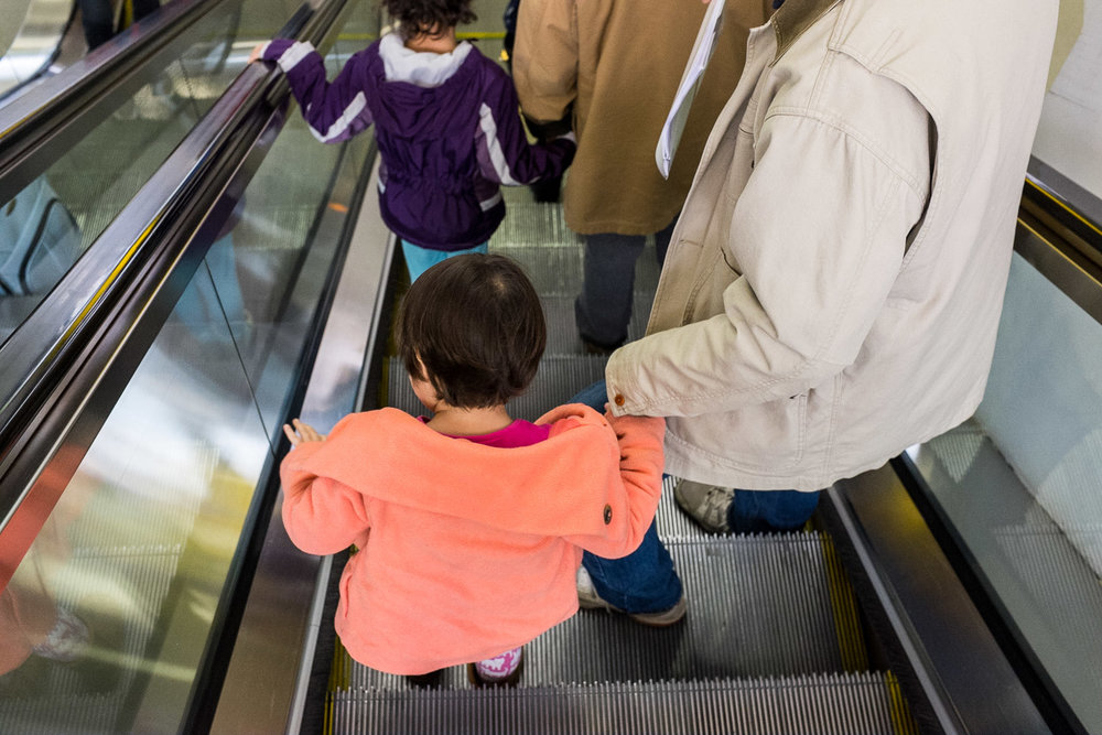 escalator ride with grandpa