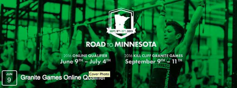 The Online Qualifier is the first step to compete at the 2016 Kill Cliff Granite Games, June 9 - July 4. You must chose one of the following levels at which to complete your workouts.     + AsRx – By completing the AsRx level workouts your score can count towards the Pro Individual or Community Team    + Masters – By completing the Masters level workouts your score counts towards the Individual Masters Division per your age    + Teens– By completing the Teen level workouts your score counts towards the Individual Teen Division    + Scaled – By completing the Scaled level workouts you'll be eligible to win prizes and compete on a Team of 3     During the Online Qualifier athletes will have the chance to win awesome PRIZES from our sponsors!  The top athletes from these divisions will qualify to compete at the 2016 Kill Cliff Granite Games.