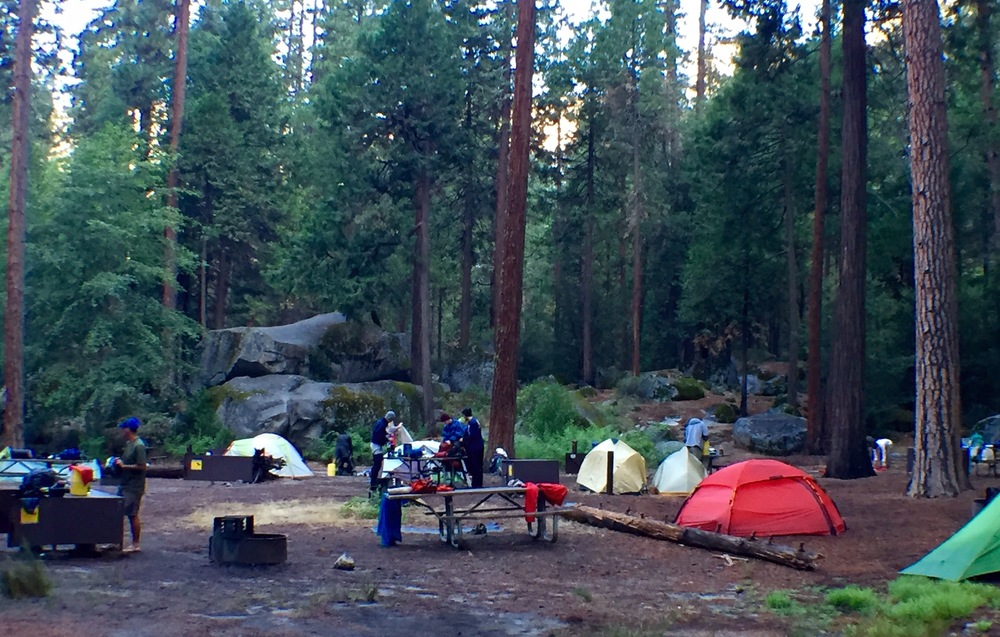 north pines campground.  fairly crowded, but its setting by the river was pretty attractive as far as group campsites go, as we would learn....