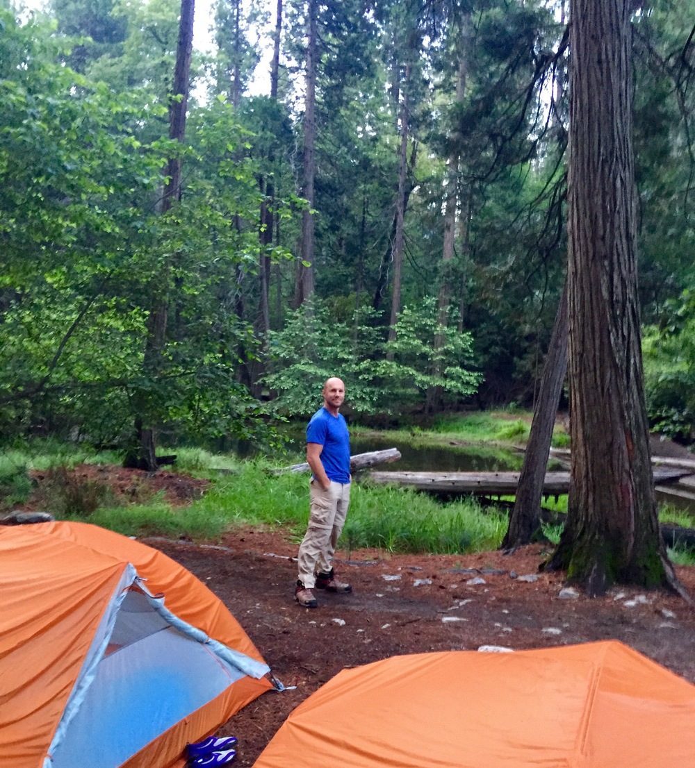 jason enjoys the seeing our campsite's setting in the morning light.