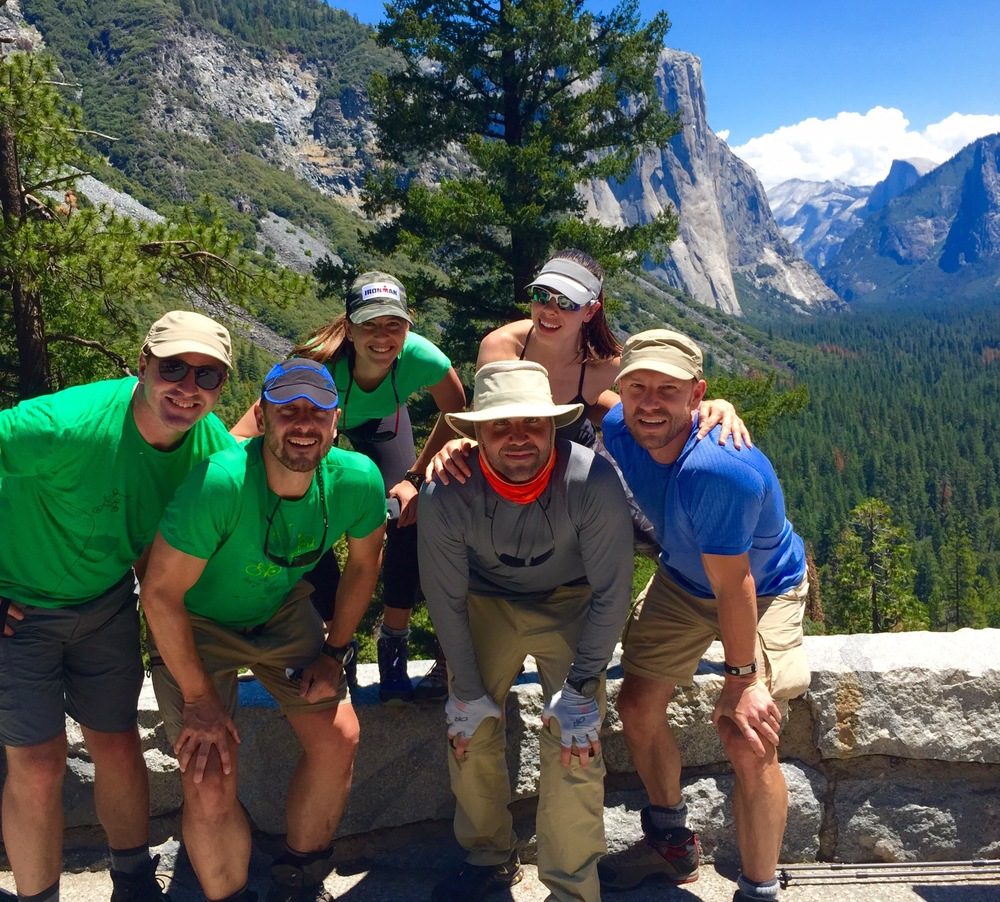 Requisite cheesy group shot taken by Chinese tourist. Half Dome in background.