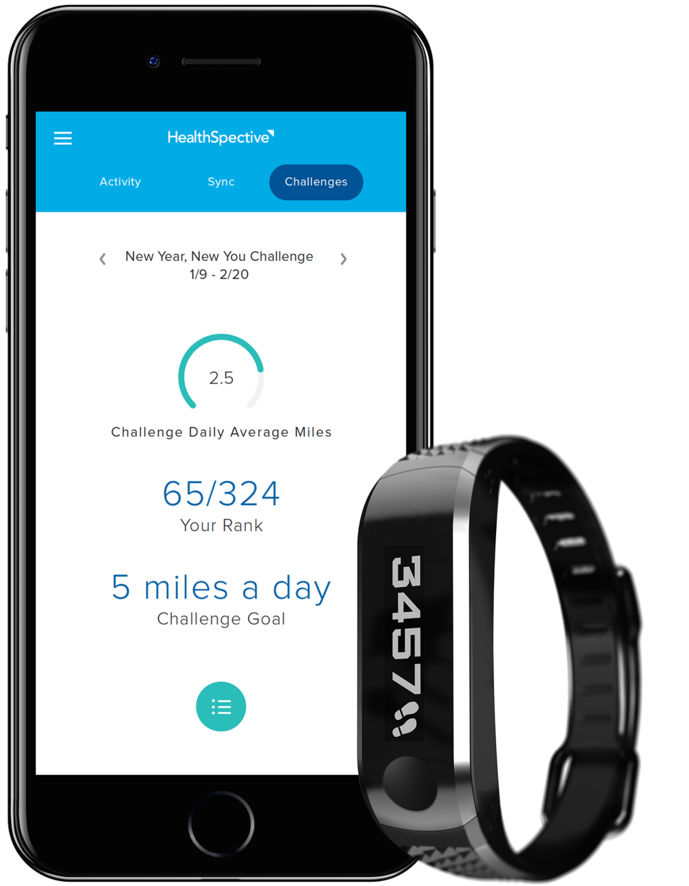 HealthSpective app with Movband 4 device