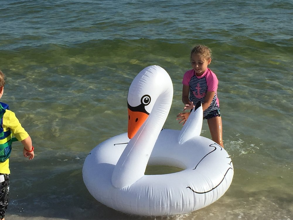 This swan was my favorite way to ride the waves--though sometimes I had to share with my daughter, Rowyn.