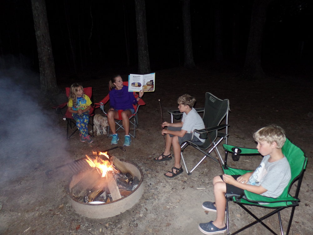 We did our version of stories around the campfire. Here I'm reading The Legend of Rock, Paper, Scissors by Drew Daywalt.