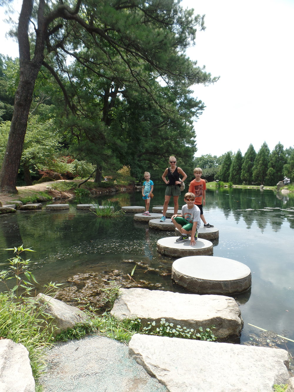 The kids and I in the Japanese Garden.